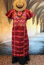Red Stripes, Amuzgo Huipil / Dress Hand woven, Mexican Vintage Style Hippie Boho