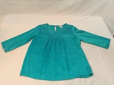*Soft Surroundings 3/4 Sleeve Blouse Silk/Spandex Drop collar Sz M Teal