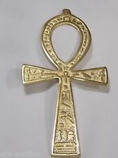 "NEW EGYPTIAN 7.5"" HUGE ANKH KEY OF LIFE DOUBLE FACE BRASS METAL WALL DECOR"