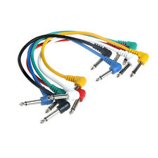 """Set of 6pcs Patch Cable Leads 1/4"""" Angle for Guitar Effect Pedals"""