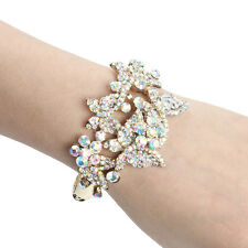 Butterfly Insect Bracelet Bangle Cuff Clear AB Rhinestone Crystal Gold GP Women