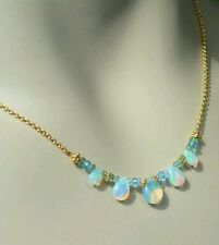 Blue topaz and pear Ethiopian fire Opal solid gold 14k necklace pendant