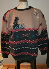 VINTAGE WOOLRICH WOOL DUCK HUNTING SWEATER MALLARD L PULL OVER BLACL LAB HUNTER