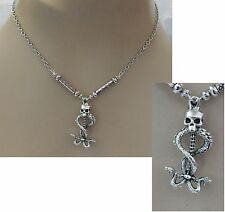 Silver Skull & Snakes Pendant Necklace Jewelry Handmade NEW Adjustable Fashion