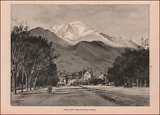 COLORADO SPRINGS with Pikes Peak in view by H. Fenn, antique, authentic 1892