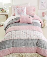 Frank & Lulu Heartwood Forest 2PC TWIN Comforter Set Gray Pink White ~ New