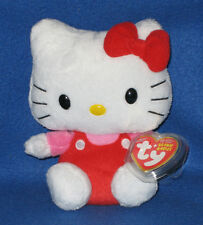 TY HELLO KITTY BEANIE BABY in RED OVERALLS - MINT with MINT TAGS