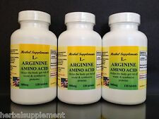 L-Arginine 500mg, muscle, heart, amino acid - 360 tablets (3x120). Made in USA.