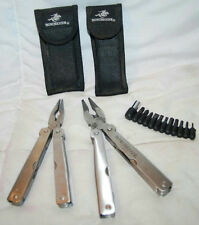 PAIR OF WINCHESTER STAINLESS STEEL PLIER FOLDING MULTI TOOLS WITH BLACK CASE