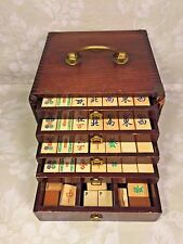 Vintage Bone Tile Mahjong Set Great Wood Case with Drawers Brass Mounts Unknown