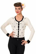 New Banned Golden Touch White Flamingo Vintage Style 50s Cardigan - Size S / 10