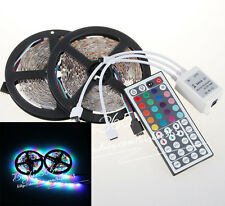10m (2 roll 5m) 3528 SMD RGB Flexible LED Light Strip 600LEDs & 44 key IR REMOTE