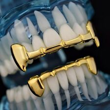 Fang Grillz Set 14k Gold Plated Half Teeth Dracula Vampire Fangs Slim K9 Grills