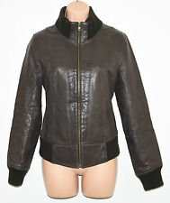Vintage Brown Leather VILA Hips Length Flying Zip Women's Coat Jacket Size M