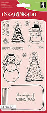 Christmas Set Clear Unmounted Rubber Stamp Set 13 Stamp INKADINKADO 60-31237 NEW