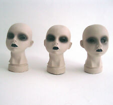 """3 Creepy Doll Head Girl Female Scary Haunt House Halloween Party Props 4"""""""