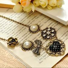 New Fashion Vintage Pearl Heart Rhinestone Bronze Chain Pendant Necklace Gift N5