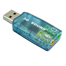 UK Portable USB 2.0 3D 5.1 Channel PC MAC DJ Sound Card Adapter Headphones/Mic