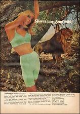 1969 Vintage ad for Sears The feline line Sexy Model Girdle Bras Lion  (020917)