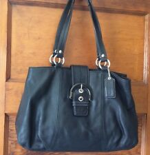 Authentic Coach Black Leather Hobo Shoulder Bag F-18751