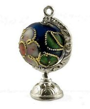 Sterling silver & blu scuro CLOISONNE Globe Charm