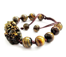 Tiger Eye Gem Happy Lucky Pixiu Pi Xiu Tibet Buddhist Prayer Beads Mala Bracelet