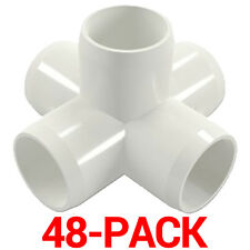 "3/4"" inch 5-Way Cross PVC Fitting Connector Side Outlet - 48-Pack - PB0755W-48P"