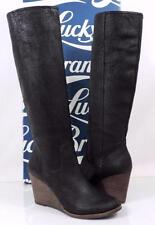 Women's Lucky Brand YACIE Tall Wedge Boots Leather Distressed Wax Black Size 7.5