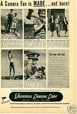 1944 Universal Camera Corp Print Ad A Camera Fan is MADE...Not Born!