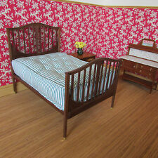 Double Bed with Mattress ~ AMERICAN WALNUT WOOD ~ Dollhouse Miniature ~ 1/12th
