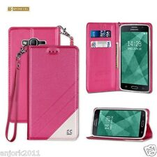 Hot Pink Folio Case w/Magnetic Closure Cover for Samsung Galaxy On5 G550