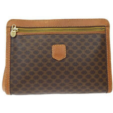 Auth CELINE Macadam Pattern Clutch Hand Bag Pouch PVC Leather Brown Italy 00D032