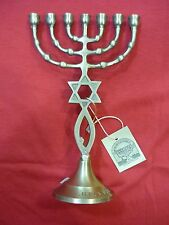 Hand Made Genuine Pure Brass Messianic Star of David+fish+menorah Menora Israel