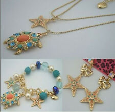 Betsey Johnson fashion jewelry turtles starfish necklace bracelet and earrings