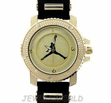 MENS ICED OUT HIP HOP GOLD MICHAEL JORDAN JUMPMAN LOGO BULLET BAND WATCH