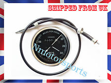 SMITHS Replica BLACK SPEEDOMETER BSA ENFIELD NORTON 0-80 Mph WITH SPEEDOCABLE