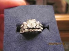 Woman's 18kt WG RARE Asscher cut Diamond Engagement ring and Wedding Band