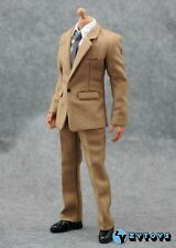 "ZYToys 1/6 Scale Khaki Brown Suit+Shirt+Pants+Tie+Belt set fit 12"" figure body"