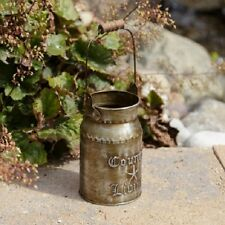 "Primitive Country Rustic "" COUNTRY LIVING "" Petite Metal Milk Can With Handle"