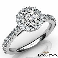 Round Cut Diamond French Pave Engagement Ring GIA F VVS1 14k White Gold 1.5ct