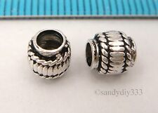 2x OXIDIZED STERLING SILVER BARREL TUBE SPACER BEAD 5.8mm with 3mm hole #308