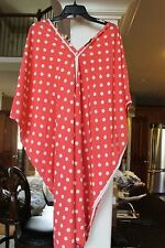 Natori red white polka Dot Caftan Gown kimono Nightie Ladies M    (bin119)