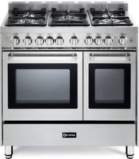 "Verona VEFSGG365NDSS 36"" Pro-Style Gas Range Turbo Double Convection Oven"