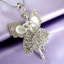 Fashion silvery Crystal Lovely angel Pendant Sweater chain Necklace EE494