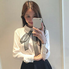 Elegant Women Embroidery Bow Tie Shirt Turn-down Collar Blouses Pullover Tops