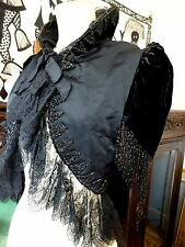 House of Worth Paris Atrib.Victorian Velvet Mourning Evening Jacket Velvet Beads