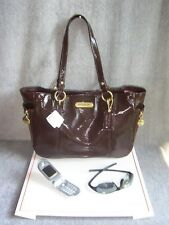 NWT COACH GALLERY PATENT LEATHER ZIP SATCHEL TOTE BAG w/ GIFT BOX  BRN  SAVE $74