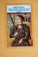 St Joan of Arc relic card - patron of prisoners; soldiers, military personnel