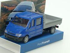 Rietze Ford Transit Pritsche DoKa, blau - dealer model - 1/87