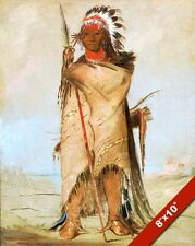 CROW NATIVE AMERICAN INDIAN BRAVE IN HEAD DRESS PAINTING ART REAL CANVAS PRINT